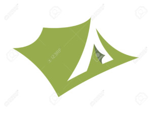 Stylized open pitched tent design or icon in green , simple silhouette illustration on white