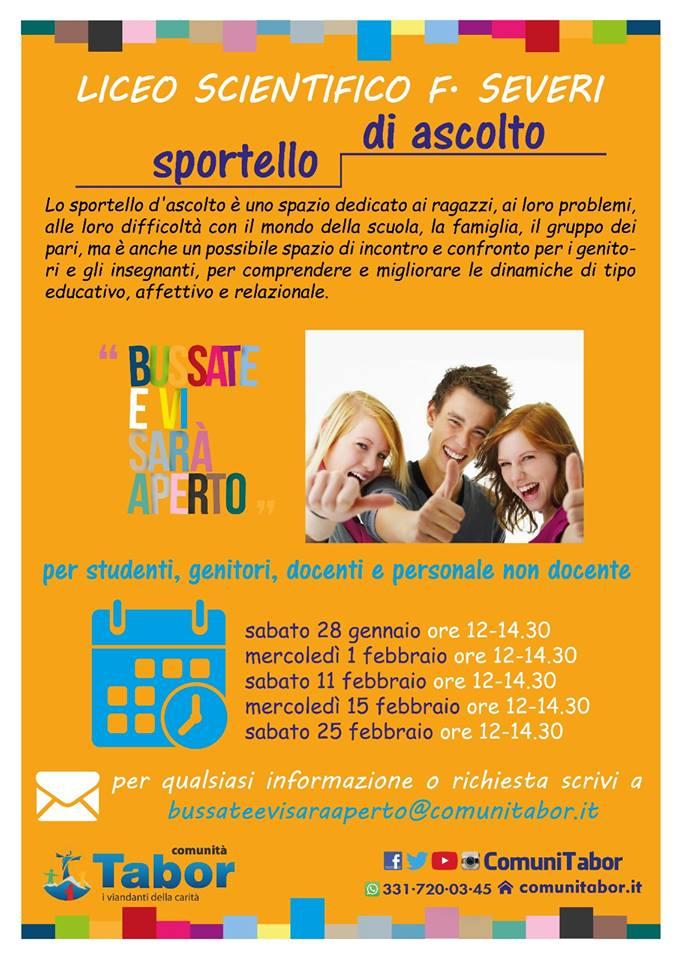 """SPORTELLO DI ASCOLTO  AL LICEO SCIENTIFICO """"F. SEVERI"""". Castellammare di Stabia."""